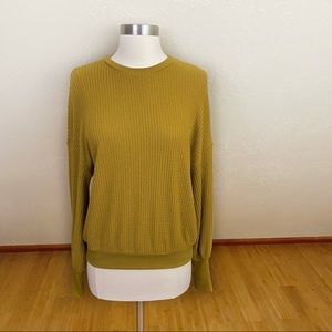 Project Social T Waffle Knit Mustard Yellow Top